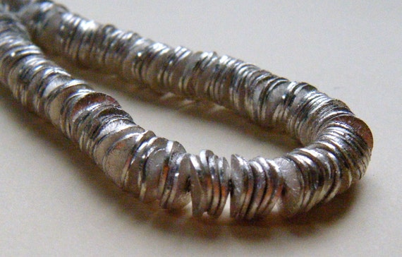 50 Silver 6mm Wavy Discs Spacer Bead Silver Plated Brushed  Finish