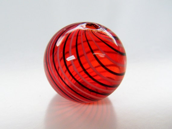 2 Hollow Red Glass Beads with Stripes 20mm Bead
