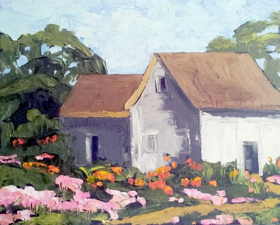 COUNTRY GARDEN HOUSE Oil Painting Lynne French Impressionist Landscape Art 16x20