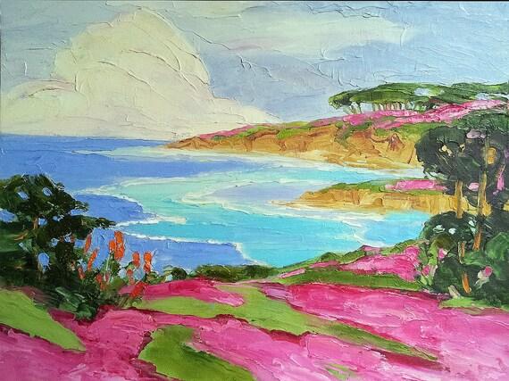 CALIFORNIA Pacific Grove MONTEREY BAY Impressionist Landscape Lynne French o/c Art 16x20