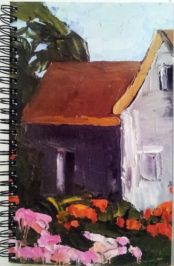 FARMHOUSE FLOWER GARDEN Lynne French Art Journal Diary 80 Pgs.Spiral Bound