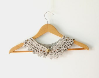 Lace Collar  Peter Pan Pearl Grey