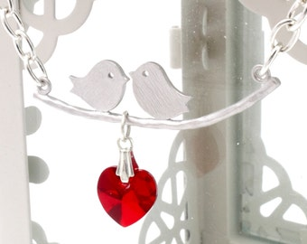 Love birds necklace with a red Swarovski crystal heart- rhodium-plated bird pair on a silver-plated chain- great valentines jewelry