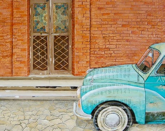 """Italian Car and Doorway - """"Curb Appeal"""" - Fine Art Print , All Sizes"""