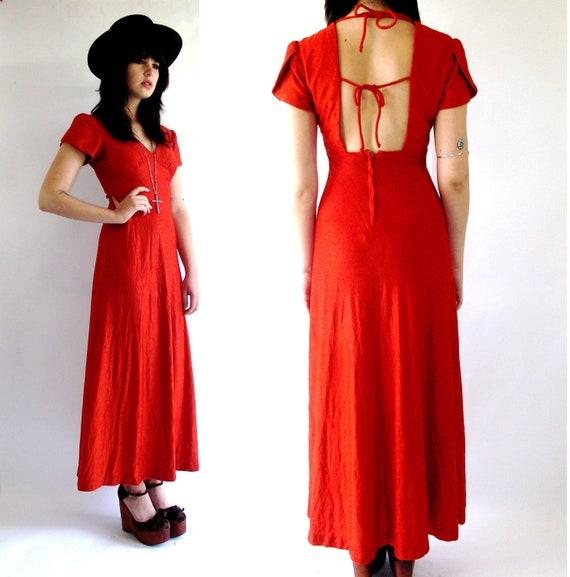 Vintage Sienna Backless Maxi Dress