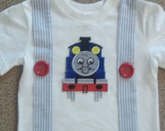 Boys Train and Suspenders T shirt