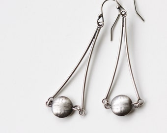 "Sleek lightweight sterling earrings with a focal point handmade silver bead securely nestled between silver twigs - ""Mezzo Earrings"""