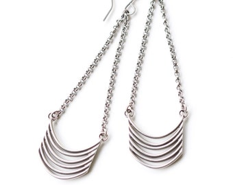 "Unique and visually prominent silver earrings, stylish composition of curved rectangular wires hung from rolo chain - ""Tribe Earrings"""
