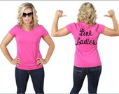 PINK LADIES hot or soft Pink Shirt greaser lady punk party misses sock hop scoop neck 1950s 50s retro Tshirt Size 2x or 3x