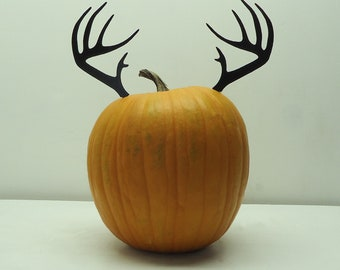 Pumpkin JackOLantern Deer Antlers Metal Art - Free USA Shipping