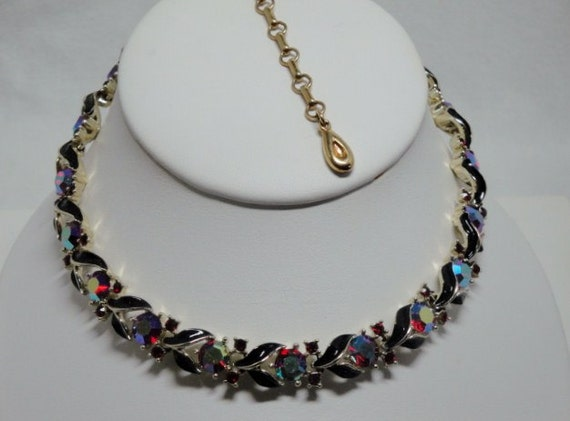 Stunning Vintage Lisner Aroura Borealis and Enamel Necklace