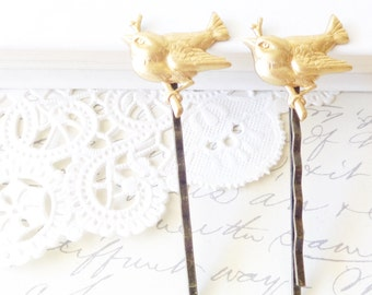 Gold Bird on a Branch Hair Pin Set - Woodland Collection - Whimsical - Nature - Bridal - Sparrow - Swallow