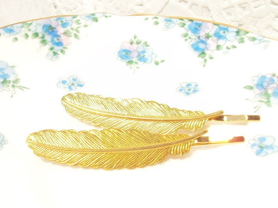 50% OFF - Gold Feather Hair Pins - Bobby Pin - Woodland Collection - Whimsical - Bridal
