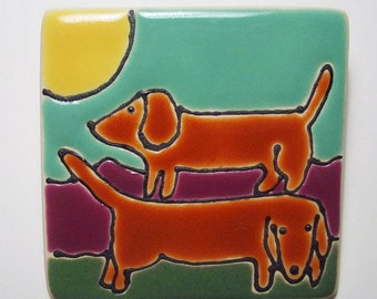 2.5 Square  Double dachshunds No.10