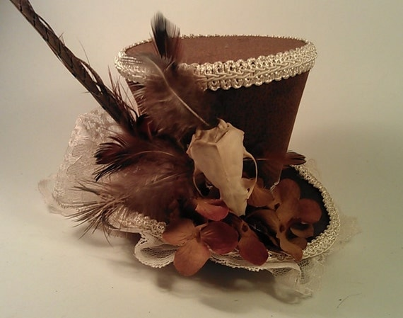 Brown Suede with REAL Skull Mini Top Hat Steampunk Victorian Gothic Fascinator