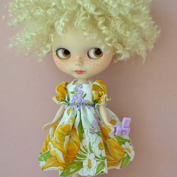 Lily of the Valley Vintage Handkerchief Dress for Blythe Doll
