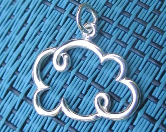 Sterling Silver Small or Large Cloud Pendant(one)