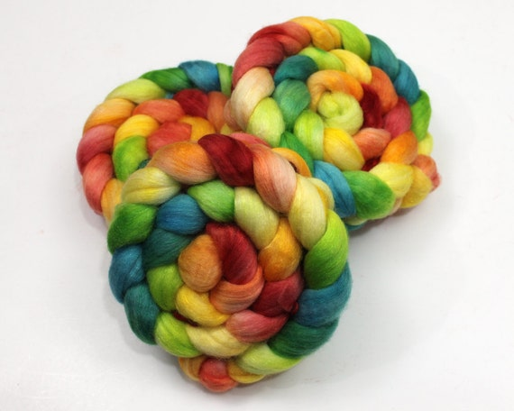 Merino/ Silk/ Sparkle - Handpainted Roving for Spinning or Felting