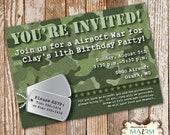Camo Birthday Invitation, DIY Printable Invitation, Army Birthday Party...by Maxim Creative Invites