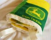 Lovey Blanket - John Deere Green and Yellow Minky Eyelash