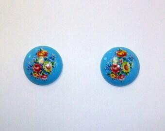Vintage Flower Floral Button Earrings DEADSTOCK