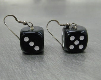 Handmade Retro Black Shiny Plastic Dice Earrings 5/8 inch Dangle