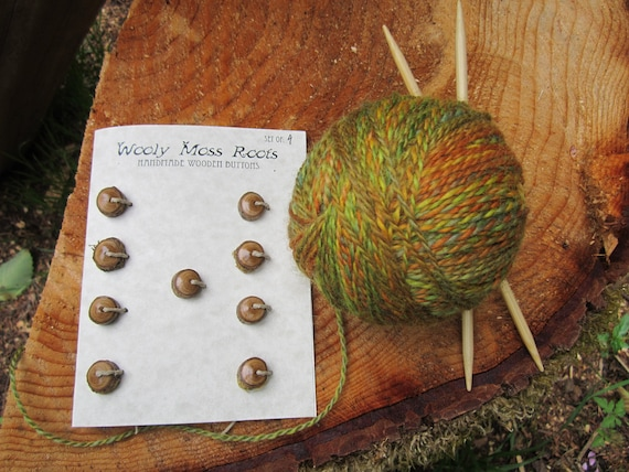 9 Tiny Wood Buttons- in Lilac Wood- Knitting, Sewing and Craft Buttons