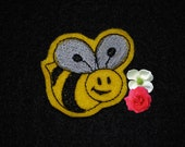 2 by 1 1/2 inch Black and Yellow Bee Felt Applique