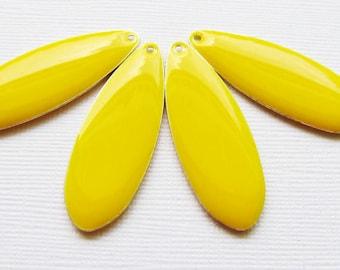 Large, Long Teardrop Drops - Silver Plated Yellow Epoxy (4 drops) - spa547