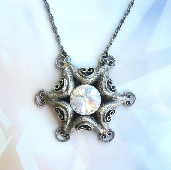 Amazing Tortolani necklace with large rivoli crystal pendant 1970s