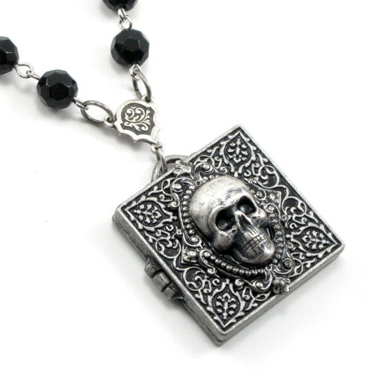 SALE 50% OFF Gothic Necklace - Mourning Necklace - Necronomicon Locket - with Black Czech Glass Faceted Rosary Chain and Skull