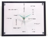 Modern Geometric Wall Clock : Numbers Green Mint Grey White and Black Back to School Clock