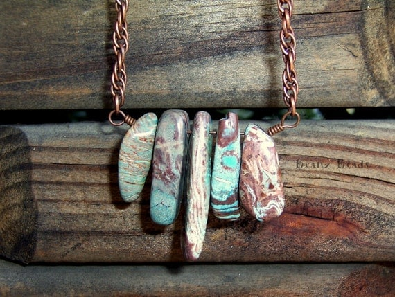 Earth and Sky Bohemian Necklace Jasper Stone Pendant with Copper Spiral Chain