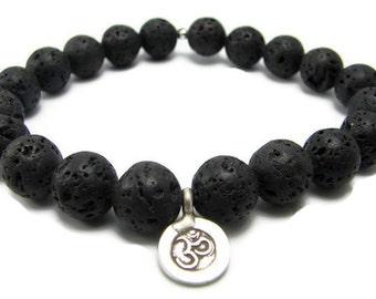 Mens Bracelet |OM,Lava Rock Bracelet | Hilltribe Silver Om (Aum) |Strength  Peace | Yoga Jewelry | Gifts with Meaning | Mens  mala Jewelry |