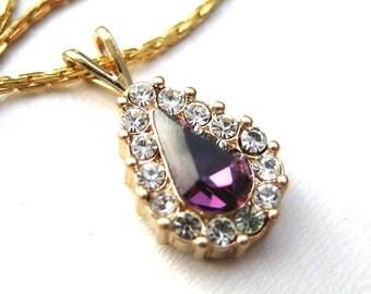 Vintage 80's Avon // Purple Rhinestone Teardrop Necklace