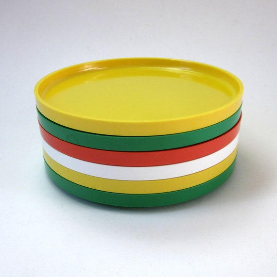 Heller Salad Plates 70s / Set of 6 Orange, Green, White and Yellow