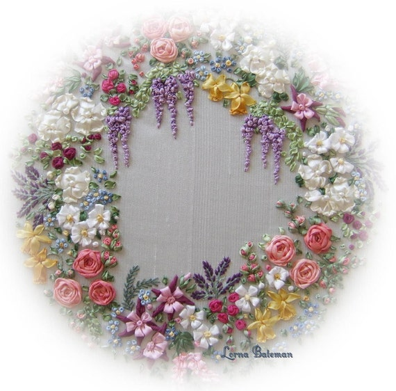 Garland of silk ribbon flowers pattern and print embroidery
