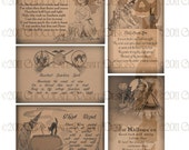 INSTANT DOWNLOAD Halloween Witch Spell Cards Digital Collage Vintage Style Primitive Printable Sheet