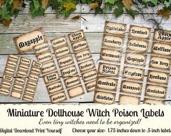 "Miniature Dollhouse Halloween Poison Potion Bottle Labels Digital Download Four Sizes 1.75"" to .5"" - INSTANT DOWNLOAD"