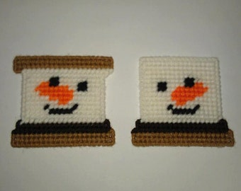 2 Handmade Snowman Smore Ornaments /Magnets Plastic Canvas