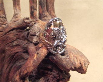 Native American Indian Eagle ring -   sterling silver  with gold filled-  heavy thick band  SALE FREE SHIPPING