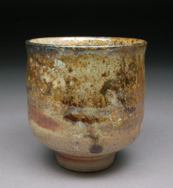 Yunomi Tea Cup Glazed with Shino, Wood Ash, Copper and Rutile