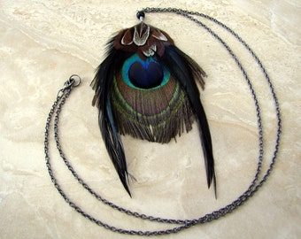 Peacock Feather Necklace - Extra Long Statement Necklace, Tribal Feather Jewelry - Space Peacock