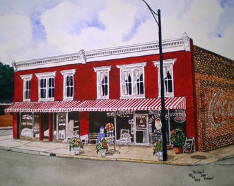 Antiques in Mooresville Print from the Original Watercolor by Michael Joe Moore
