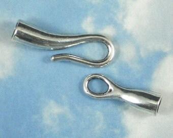 5 Clasps Sleek Hook & Eye Closure Silver Tone Tube Glue In Mounting (P597)