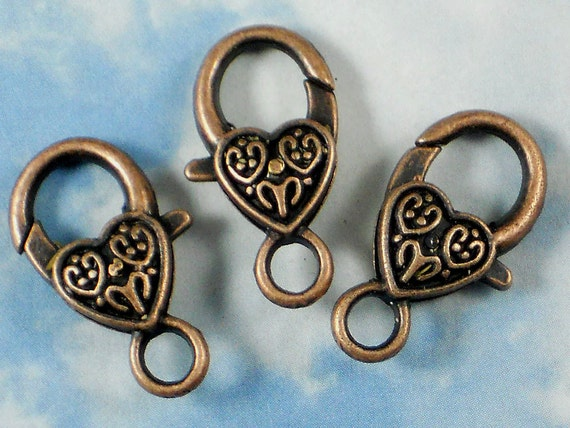 5 Copper Celtic Heart Lobster Claw Clasps 25mm Antiqued Purse Clips (P030)