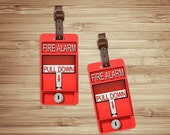 Personalized Luggage Tags Red Fire Alarm Luggage Tag Set Personalized Printed Metal Tags - 2 Tags