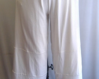 Coco and Juan Plus Size Lagenlook  White Cotton Knit  Wide Leg Pant  Size 1 fits 1X,2X
