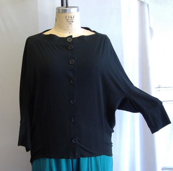 """Coco and Juan Lagenlook Plus Size Jacket Cocoon Top Black Cotton Knit XL Bust 50"""""""