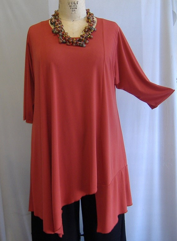 Coco and Juan Plus Size Asymmetric Tunic  Top Dark Coral Traveler Knit Size 1 (fits 1X,2X)   Bust 52 inches